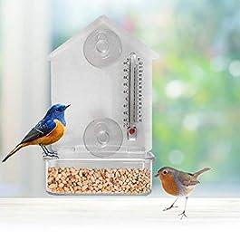 Newest Bird Feeder with Thermometer,with Sucker Indoor Outdoor Birdfeeders for Wild Birds, Finch, Cardinal, and Bluebird.