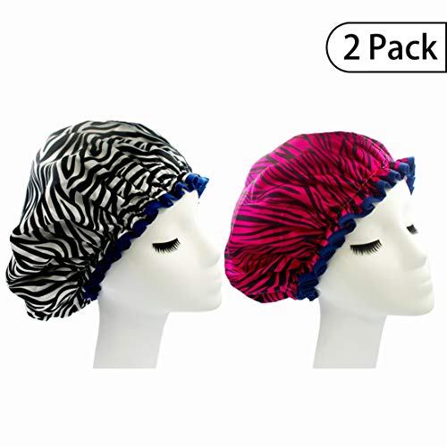 Bleu Bath (2 Pack) Sexy Lovely Fashion Style Hair Cap Large Double Layer Lined Waterproof Durable Eco-Friendly Shower Cap with Tight Elastic-Fashionista Collection Bath Cap (Sexy Style)