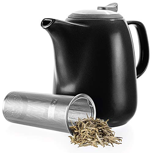 Tealyra - Daze Ceramic Large Teapot Black - 1400ml (6-7 Cups) - with Stainless Steel Lid Extra-Fine Infuser for Loose Leaf Tea