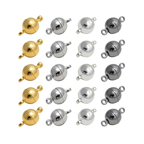 REKYO 20 Packungen Halskette Armband Magnetische Verschlüsse Für Ketten , Schmuck Magnetverschluss Für Halskette Armband Machen