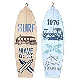 CAPRILO. Set de 2 Adornos Pared Decorativos de Madera Tablas Surf Riders. Cuadros y Apliques. Decoración Hogar Marinera. Muebles Auxiliares. Regalos Originales. 24 x 0,80 x 75 cm.