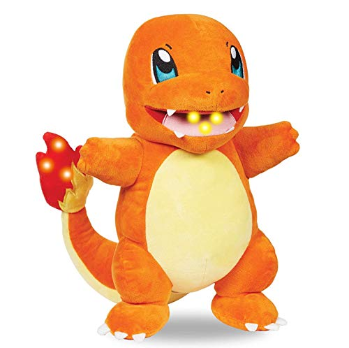 Pokémon Flame Action Charmander 10 Inch Interactive Plush with Lights & Sounds - Light Up Tail & Mouth with Multiple Sound Effects - Eco-Friendly Packaging - Age 4+