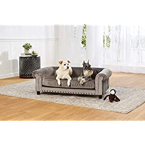 Enchanted Home Pet Co2786-16Gry Manchester Velvet Tufted Pet Sofa in Grey,Medium (26 – 50 lbs)