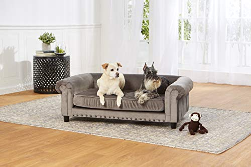 Enchanted Home Pet Co2786-16Gry Manchester Velvet Tufted Pet Sofa in Grey,Medium (26 - 50 lbs)