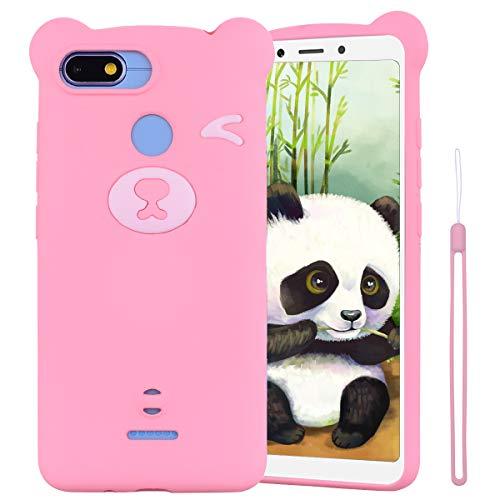 ChoosEU Compatible para Funda Xiaomi Redmi 6 / 6A Silicona Dibujos Oso Panda Creativa Carcasas para Chicas Mujer Hombres, Case Antigolpes Cover Caso Protección Cordón con Correa - Rosado