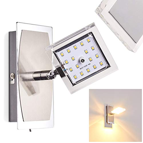 LED Wandleuchte Tarnala, Wandlampe aus Metall in Chrom, 1-flammig, 1 x 4 Watt, 320 Lumen, Lichtfarbe 3000 Kelvin (warmweiß), dreh- und schwenkbarer Spot, inkl. An/Aus-Schalter am Gehäuse