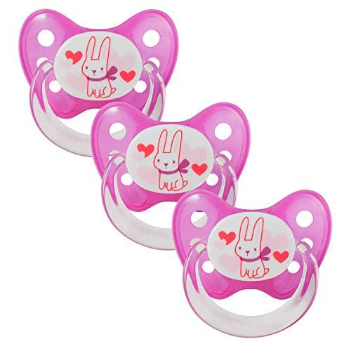 Dentistar® Latex Schnuller 3er Set - Baby Nuckel Größe 3 - ab 14 Monate - Naturkautschuk Beruhigungssauger für Babys und Kleinkinder - zahnfreundlich - Made in Germany - BPA frei - Hase Pink