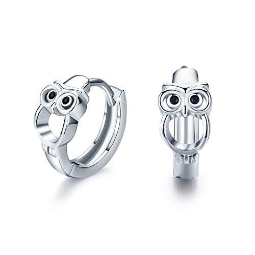 Eule Ohrringe für Mädchen, 925 Sterling Silber Creolen Ohrringe Kleine Creolen Kreis Ohrringe Schmuck für Damen Weihnachtsgeschenk Hochzeits Jubiläums Geschenke für Mädchen Mama Frauen