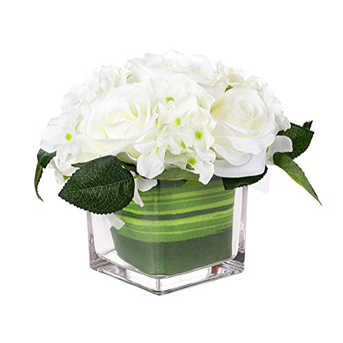 Fule Artificial Silk Rose Flower Centerpiece Arrangement in vase for Home Wedding Decoration (White)