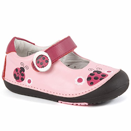 Momo Baby Girls First Walker/Toddler Ladybugs Pink Mary Jane Leather Shoes - 5.5 M US Toddler