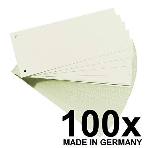 Original Falken 100er Pack Karton-Trennstreifen. Made in Germany. 10,5 x 24 cm weiß Trennlaschen Trennblätter Ordner Register Blauer Engel
