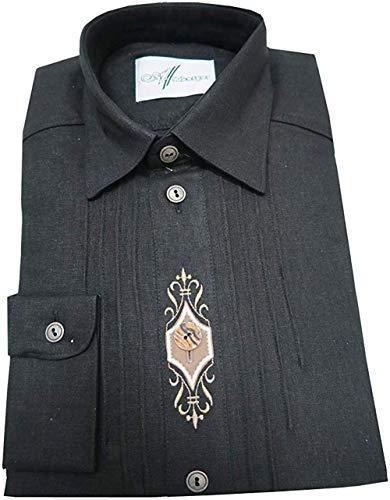 Arzberger Herren Trachtenhemd schwarz Leinenhemd mit Stickerei Gr.39