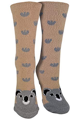 sock snob - 1er Pack Antirutsch Abs Rutschfest Kuschelsocken/Socken mit Cartoon Tiere Motiv (37-42 EU, KOALA)