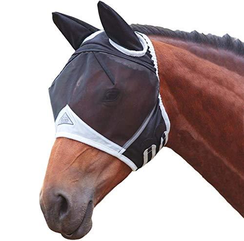 Maschera anti-mosche, marca Shires, a rete e maglia fine, con para orecchie, Black