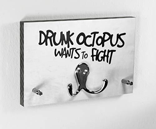 Schlüsselbrett | Drunk Octopus Wants To Fight | Hakenleiste | Garderobe | Flur | Schlüssel | Design | Modern | Einzug | Kreatives Geschenk
