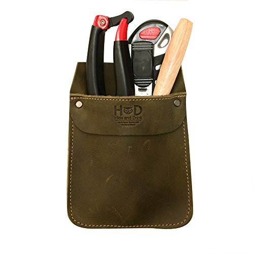 Hide & Drink, Durable Leather Work Pocket Organizer for Tools, Pens, Jeans Back Pocket Quick Grab Carry Job Tools, Office & Work Essentials, Handmade Includes 101 Year Warranty :: Dark Jade