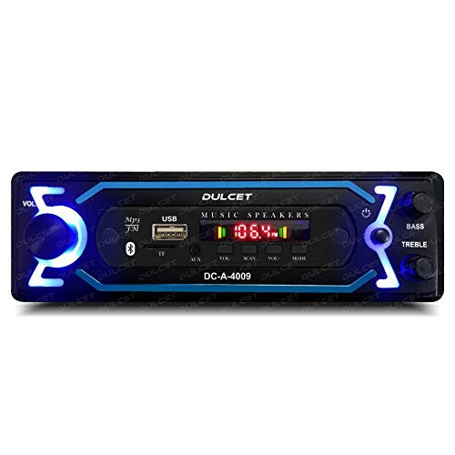 Dulcet DC-A-4009 Double IC High Power Universal Fit Mp3 Car Stereo with Bluetooth/USB/FM/AUX/MMC/Remote & Built-in Equalizer with Bass & Treble Control[Also, Includes a Free 3.5mm Premium Aux Cable]