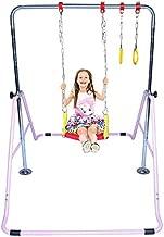 ProKidz Kids Jungle Gym 3 in 1 Gymnastics Monkey Bar Deluxe Swing Set, Trapeze Rings, Adjustable Horizontal Climb Tower Junior Training Pink
