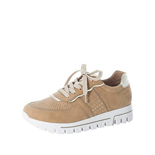Rieker Damen Low-Top Sneaker L2826, Frauen Halbschuhe,Plateausohle,weiblich,Ladies,Women's,Woman,schnürschuhe,schnürer,Lady,beige (62),40 EU / 6.5 EU