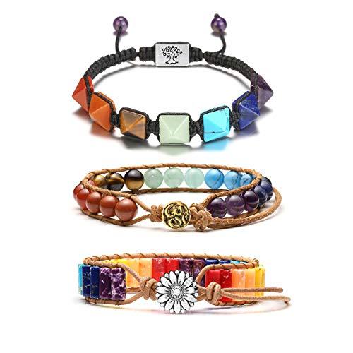 Jovivi 7 Chakra Schmuck Set Buddha Yoga geflochtenes Armband Healing Reiki Heilstein Energiearmband Freundschafts Armbänder