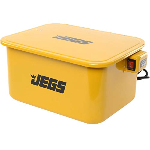 JEGS 5-Gallon Portable Parts Washer   3.5 Gallon Solvent Capacity   3.96 Gallon Per Minute Max Pump Output   Heavy Duty Steel   Powder Coated Yellow with JEGS Logo