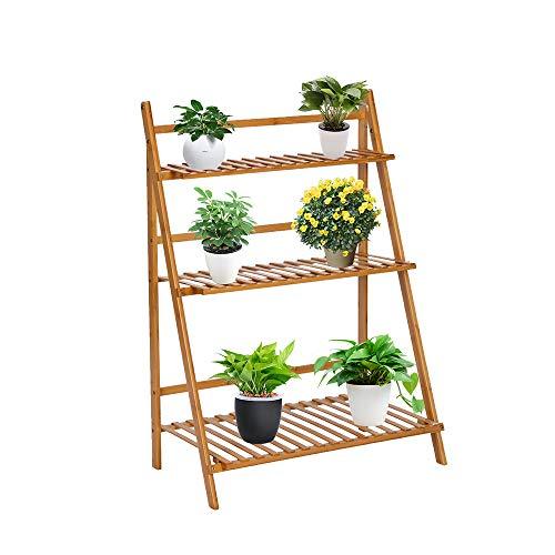 Bonnlo Wooden Ladder Plant Stand, 3 Tier Plant Shelf, Multiple Plant Pot Flowers Pot Holder Shelf Folding Storage Shelving Plants Shelf for Patio Garden Balcony, Indoor Outdoor Use (Natural)