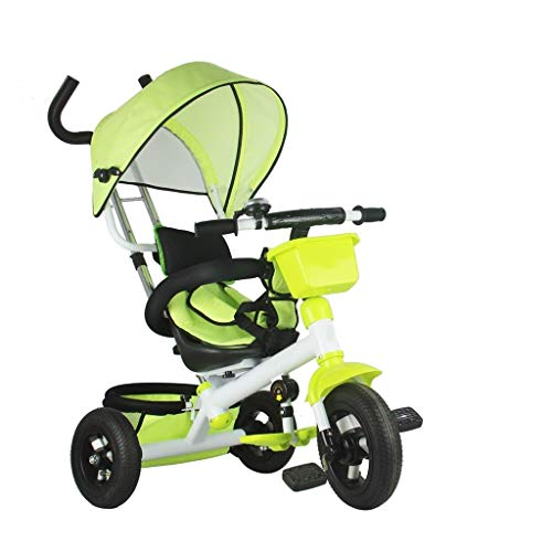Tricycle Children's Multi-function 3-in-1 Tricycle With Awning 1-6-year-old Baby Outdoor Three-wheeled Bicycle Detachable 2 Colors 80x52x98cm (Color : Green)