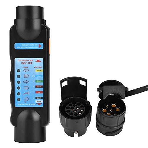 12V 7Pin/13Pin Plug & Socket Tester 7 Core Detector + 2 Umrüstköpfe für Autoanhänger