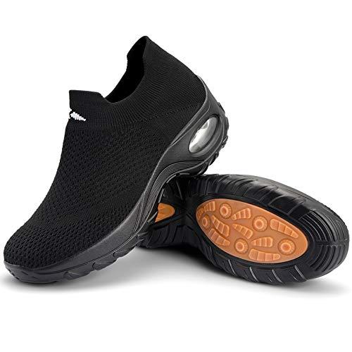 Zapatos Deporte Mujer Zapatillas Deportivas Correr Mesh Calzado de Caminar Trabajo Bambas Running Negro D, Gr.40 EU