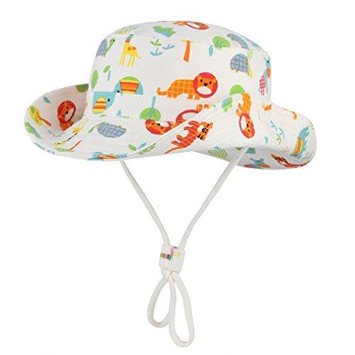 DEMU Baby Sonnenhut Sonnenschutz Fischerhut Cap Baumwolle Strandhut Sommerhut Wendehut (Elefant, Hut Umfang 50cm)