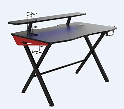 sanisol Ergonorms Multi Utility Carbon MDF Semi Glossy Finish Gaming Table for Computer Office (Model-Engd, Black, DIY Assembly)