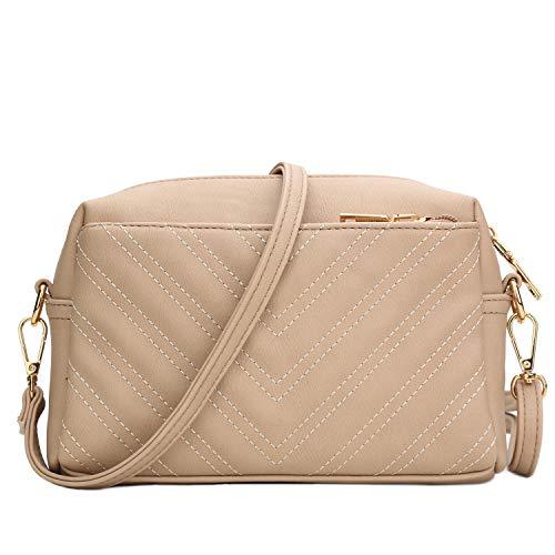 KKXIU Triple Zip Lightweight Small Crossbody Bags for Women Quilted Shoulder Purses and Handbags (beige)