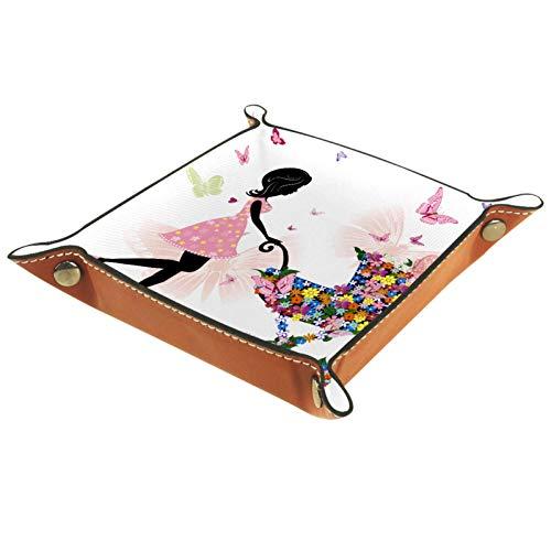 Tablett Leder,Mädchen Blumen Schmetterling Kinderwagen,Leder Münzen Tablettschlüssel für Schmuck,Telefon,Uhren,Süßigkeiten,Catchall-Tablett für Männer & Frauen Großes Geschenk