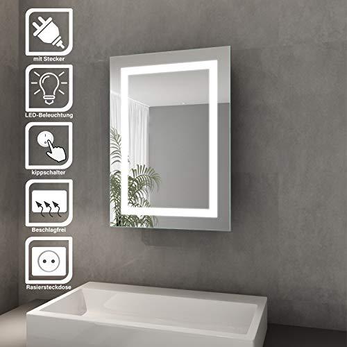 Elegant Bad Spiegelschrank mit Beleuchtung Schiebetür LED Licht Spiegelschrank Badezimmer Hängeschrank mit Steckdose und Kippschalter 50 x 70 cm