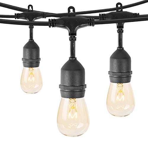 Outdoor Patio String Lights 48 Feet Weatherproof Commercial Grade Hanging Lights with 15 S14 Edison Bulbs UL Listed Connectable Strand for Backyard Porch Bistro Tent Party, E26 Base, Black