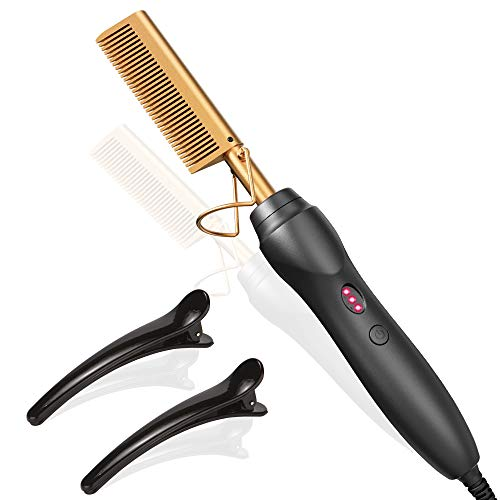 Hot Comb Hair Straightener Heat Pressing Combs - Ceramic Electric Hair Straightening Comb , Curling Iron for Natural Black Hair Beard Wigs Holiday Gift - 3 In1