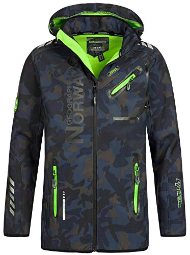 Geographical Norway Herren Softshell Outdoor Jacke Rainman/Royaute Camo Turbo-Dry Kapuze Navy/Green XXL