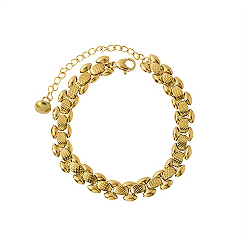 YJZW 8mm Bracelet, 15+5cm Length, 18k Gold Plated/316l Stainless Steel (With Gift Box)