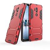LXHGrowH Funda LG G7 ThinQ, Fundas 2in1 Dual Layer Anti-Shock 360° Full Body Protección TPU Silicona Gel Bumper y Duro PC Armadura con Soporte y Desmontable Carcasa para LG G7 ThinQ, Rojo