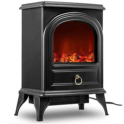 DPGPLP - Mini chimenea eléctrica con lámpara de regalo, con marco metálico, color negro y madera LED