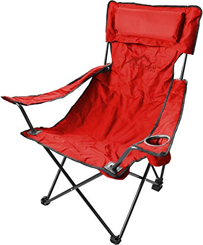 normani Campingstuhl Faltstuhl Klappstuhl Anglerstuhl Getränkehalter Stuhl Gartenstuhl für den Sommer Farbe Deluxe/Rot