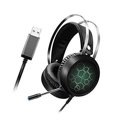 Headset Over-Ore Feat Auriculares Profesional 7.1 Auriculares de Juego Gamer Sound Sound USB Auriculares con Cable con micrófono para PC PC XBO-X para PS4 RGB Luz (Color: 7.1 Mic Long)