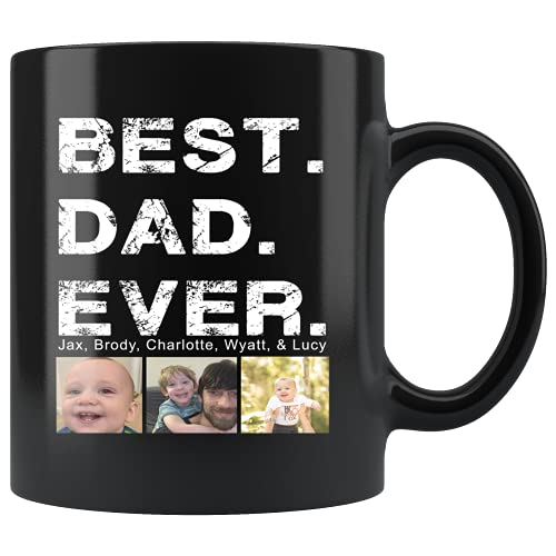 dad coffee cups Fathers Day Mug, Funny Best Dad Coffee Mug, Personalized Custom Name & Photo Coffee Mugs, Coffee Cup for Father's Day, Birthday Mug for Dad, or Christmas Presents for Dad From Son, Daughter, Kids