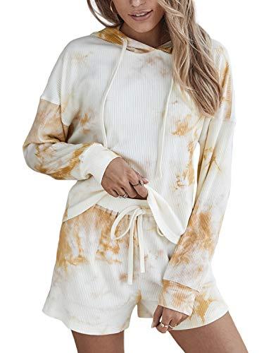 Doublju Women#039s Long Sleeve Hoodie Tie Dye Nightwear Pajamas Set Sleep amp Lounge Set Apricot Large