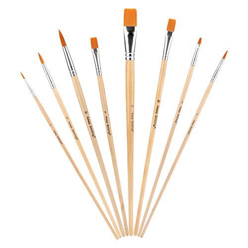 Sporgo Pinsel,8 Stück Pinselset Malen Aquarellpinsel Borstenpinsel für Gemälde, Künstler, Acryl, Aquarell, Kreative Körperfarbe