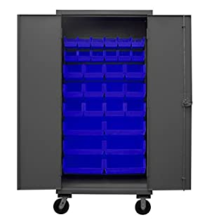 """Durham HDCM36-30-5295 Lockable Mobile Cabinet with 30 Blue Hook-On Bins, 36"""" Wide, 12 Gauge (B018FP2O6E) 