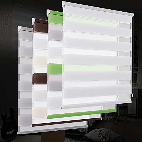 OUBO Estor Doble Enrollable 50 x 150 CM Blanco Cortina Visillos para ventanas y puertas Translúcido día Cortina translúcida de la cebra del rodillo- Sin perforación Klemmfix
