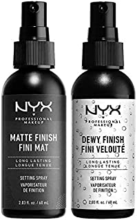 NYX PROFESSIONAL MAKEUP Make Up Setting Spray Matte Finish Bundle with Dewy Finish (2 Items)