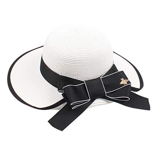 HHyyq Sonnenhut Damen Faltbarer Strohhut UV Schutz Sommer Strand Hut mit Sonnenschutz Breite Krempe Gartenhut Outdoor Fashion Mädchen Stroh Sonne Summer Hut
