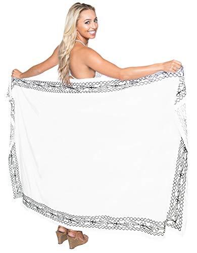 LA LEELA Doux Doux Rayonne Femmes brodé Maillot de Bain Sarong 72x42 Pouces des fantômes Blanc